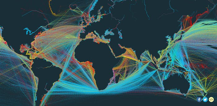 Map of the world's shipping routes.