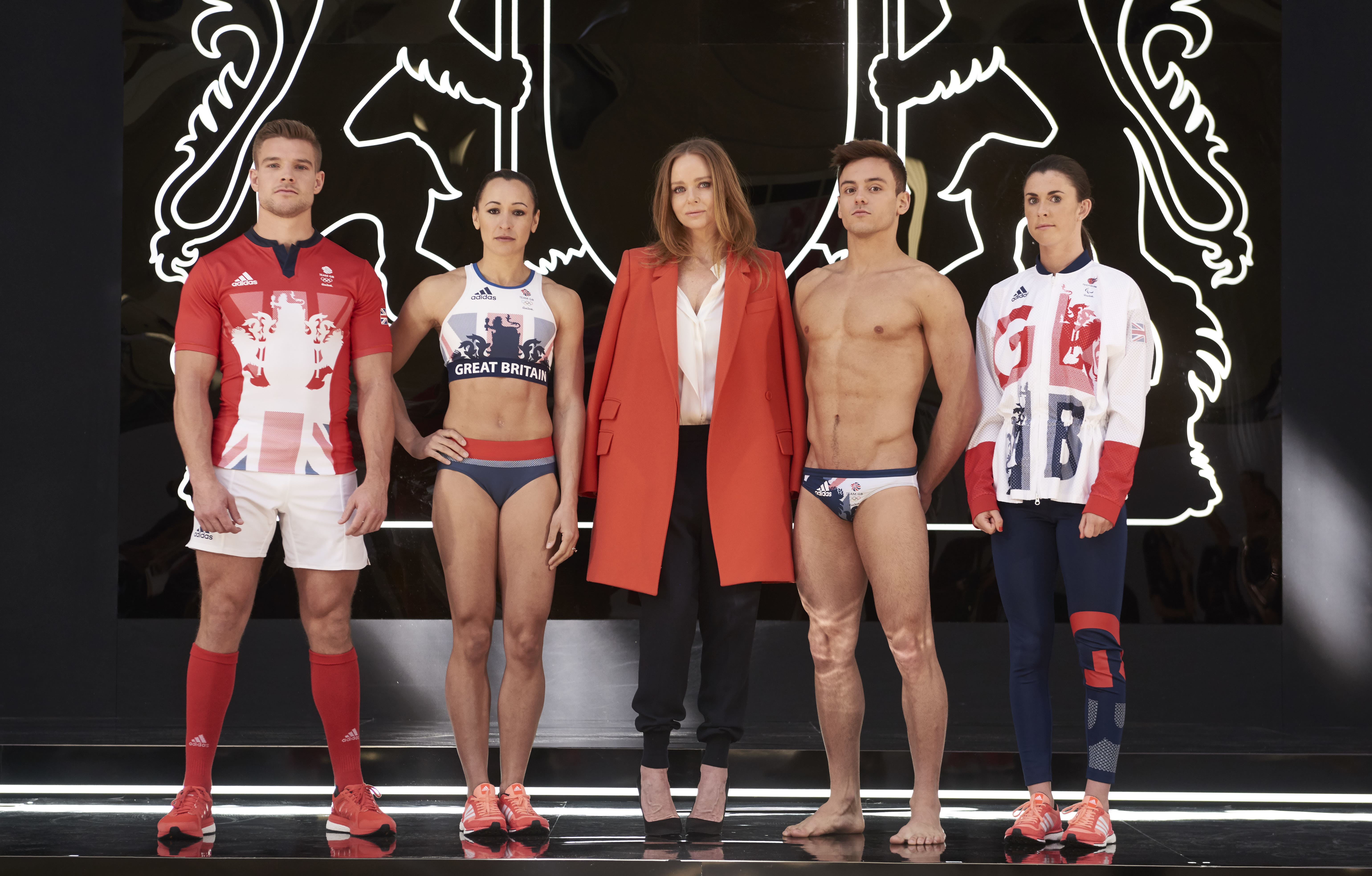 Tom Mitchell, Jessica Ennis-Hill, Stella McCartney, Tom Daley, Olivia Breen in the gear designed for Great Britain for Rio.