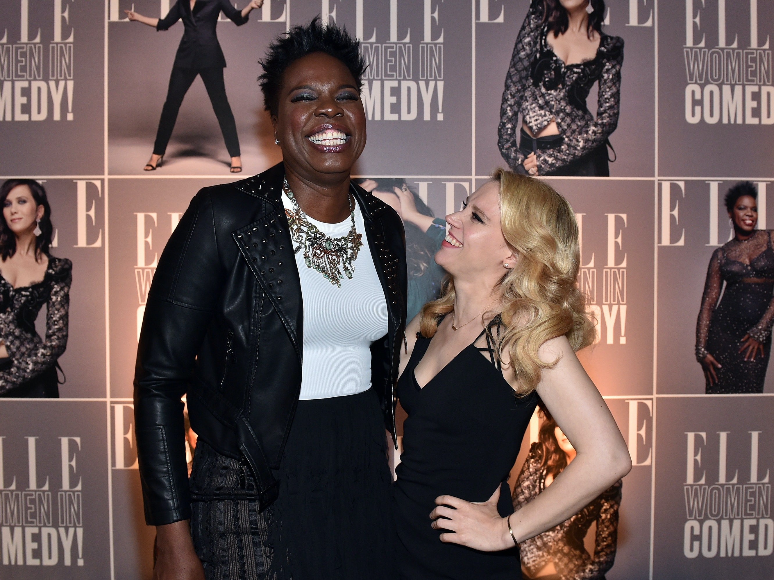 WEST HOLLYWOOD, CA - JUNE 07:  Actors Leslie Jones (L) and Kate McKinnon attend ELLE Women In Comedy event hosted by ELLE Editor-in-Chief Robbie Myers and Leslie Jones, Melissa McCarthy, Kate McKinnon and Kristen Wiig on June 7, 2016 at Hyde Sunset in Los Angeles, California; presented by Secret Deodorant and emceed by Jane Lynch with stand-up performances by Michelle Buteau, Nikki Glaser, Iliza Shlesinger, and Ali Wong.  (Photo by Mike Windle/Getty Images for ELLE)