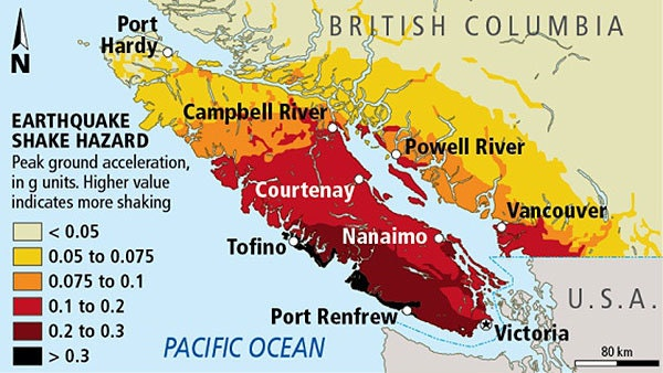 My town is in the dark-red zone, towards the southern end of Vancouver Island.