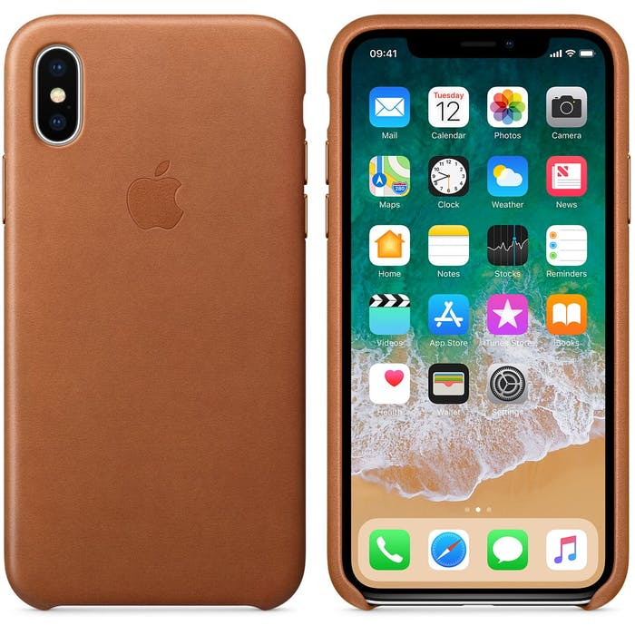 iPhone X in leather case