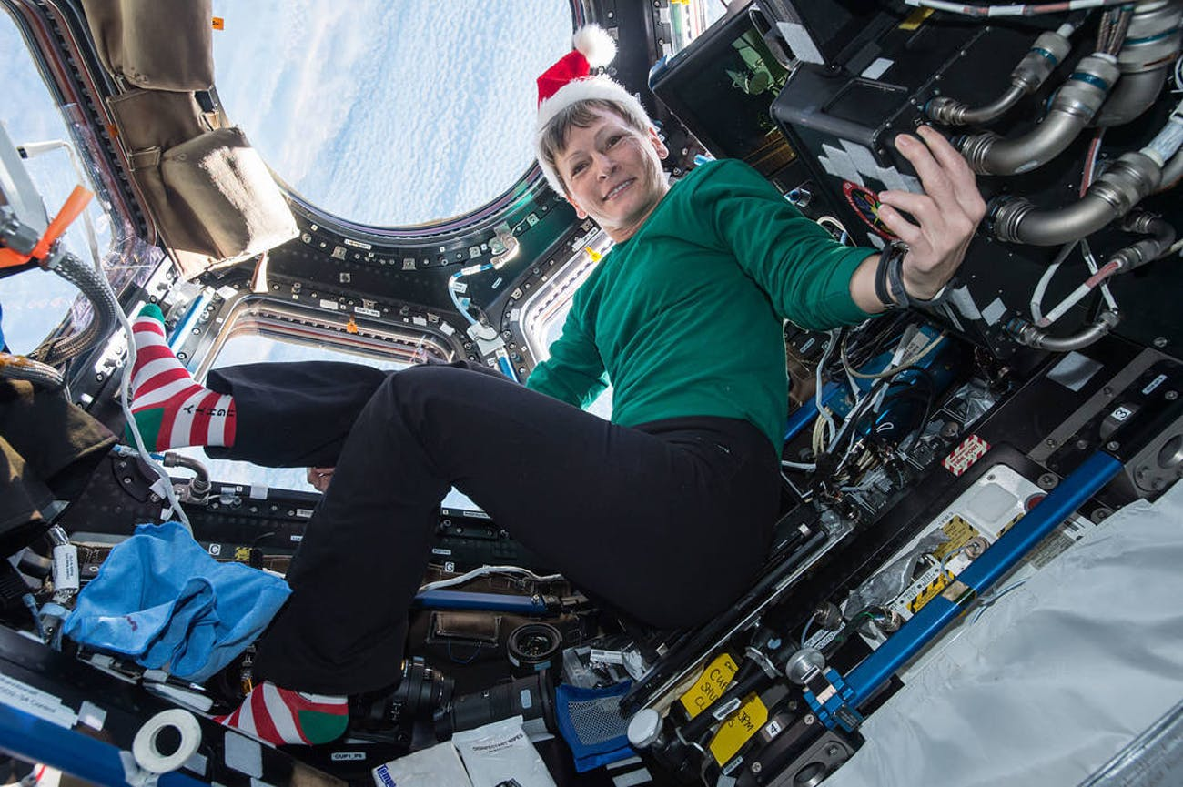 NASA's Peggy Whitson poses for a festive picture in the cupola.