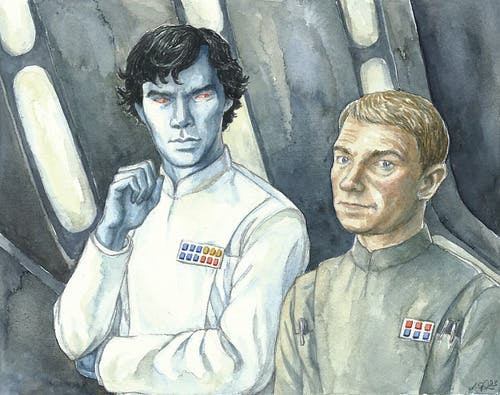 Fan art of Benedict Cumberbatch as Sherlock Holmes as Thrawn.