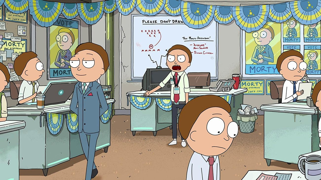 Candidate Morty runs for office with a staff full of ... Mortys.