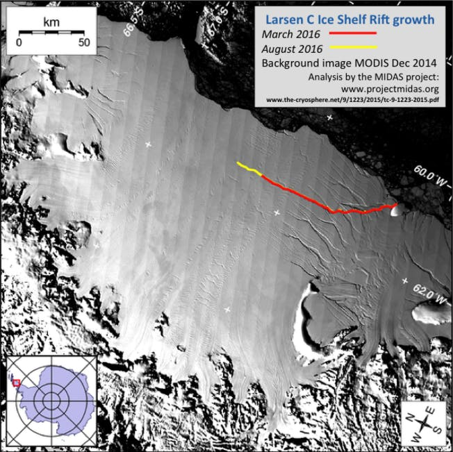 The crack in Larsen C has grown more than 13 miles since March.