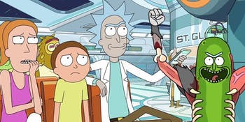 "In ""Interdimensional Cable 2: Tempting Fate,"" Rick connects a hospital TV with his interdimensional cable device."