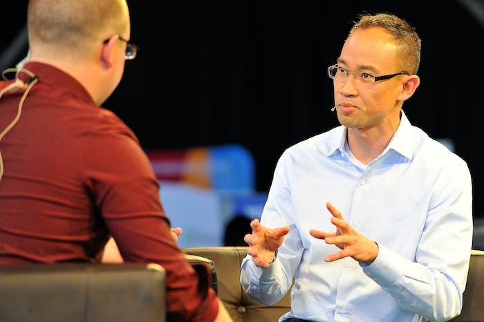 Udemy CEO Dennis Yang is interviewed on TechCrunch TV during day one of TechCrunch Disrupt SF 2015 at Pier 70 on September 21, 2015 in San Francisco, California.