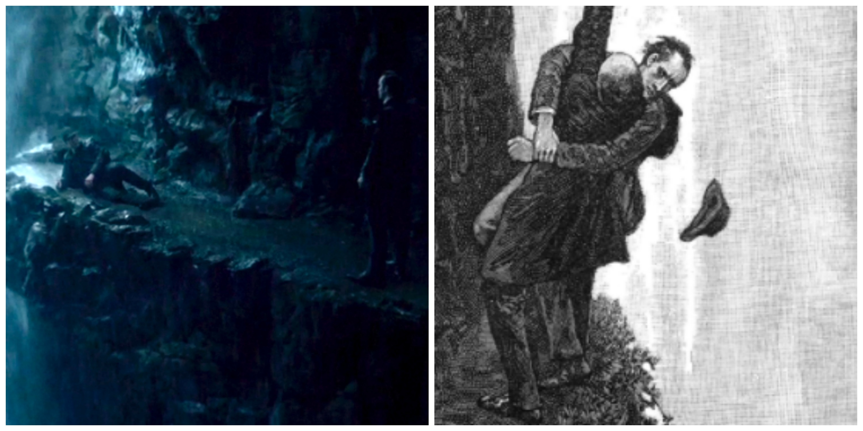 "LEFT: Reichenbach Falls in Sherlock's mind. RIGHT: Sidney Paget's illustration for ""The Final Problem."""