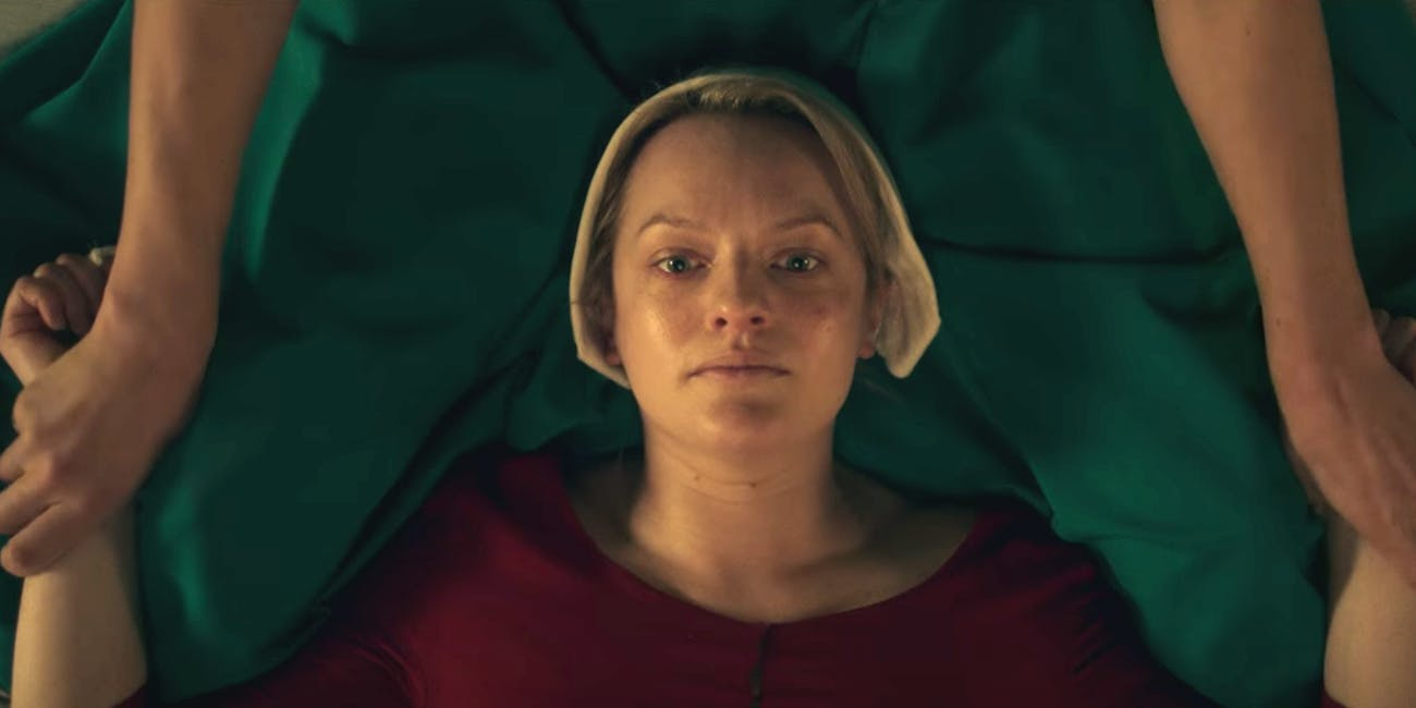 Elizabeth Moss and Yvonne Strahovski in 'The Handmaid's Tale'