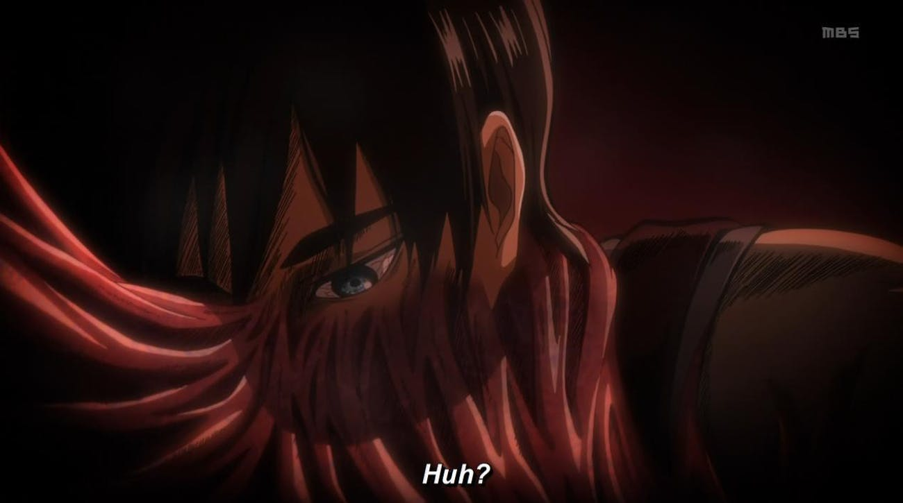 Like all Titan Shifters, muscle sinews connect directly to Eren's human body when he's piloting a Titan.