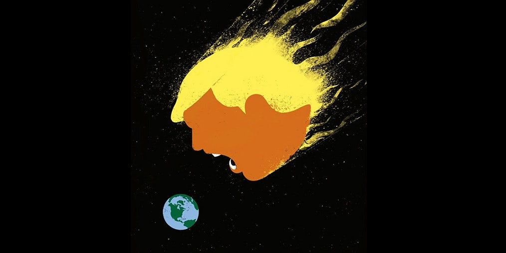 The latest 'Der Spiegel' cover portrays Donald Trump as a world -destroying asteroid.