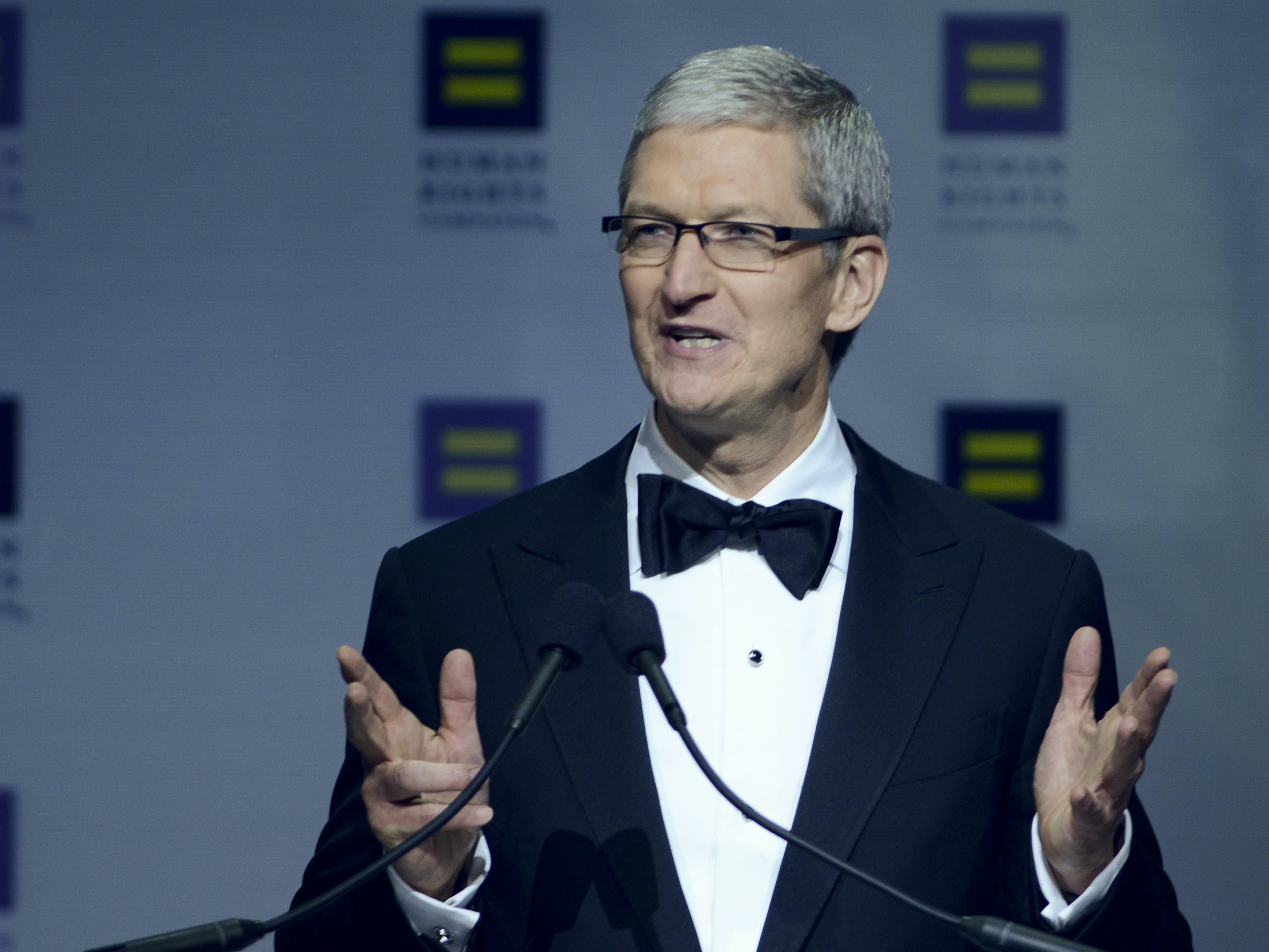 WASHINGTON, DC - OCTOBER 03:  Apple CEO Tim Cook speaks during the 19th Annual Human Rights Campaign National Dinner at Walter E. Washington Convention Center on October 3, 2015 in Washington, DC.  (Photo by Leigh Vogel/Getty Images)