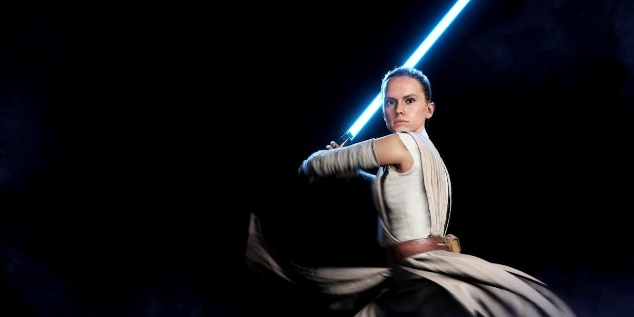 Rey in Alpha footage for 'Star Wars: Battlefront II'.