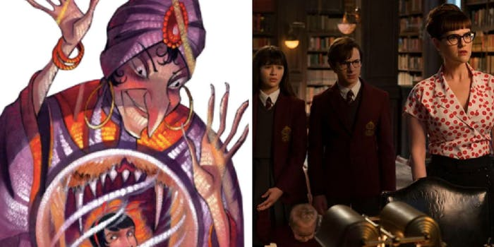 RIGHT: Olivia Caliban as illustrated by Brett Helquist. RIGHT: actress  Sara Rue as  the new Olivia in season of of 'A Series of Unfortunate Events'