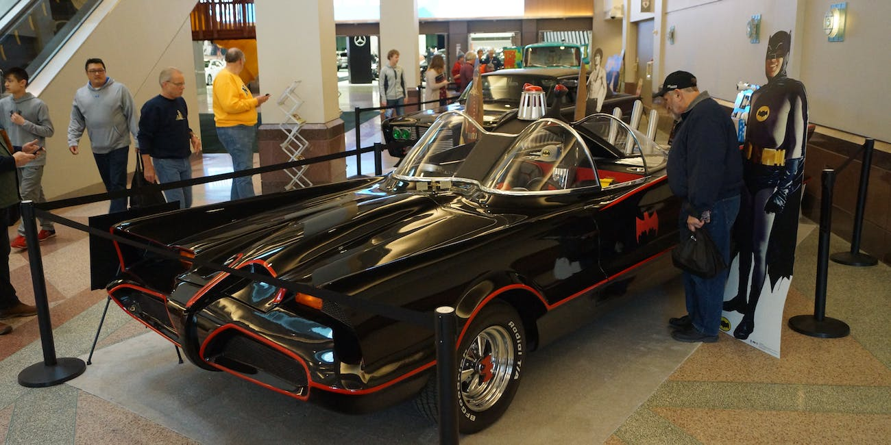 a replica batmobile from the twin cities auto show in minneapolis from march 2018