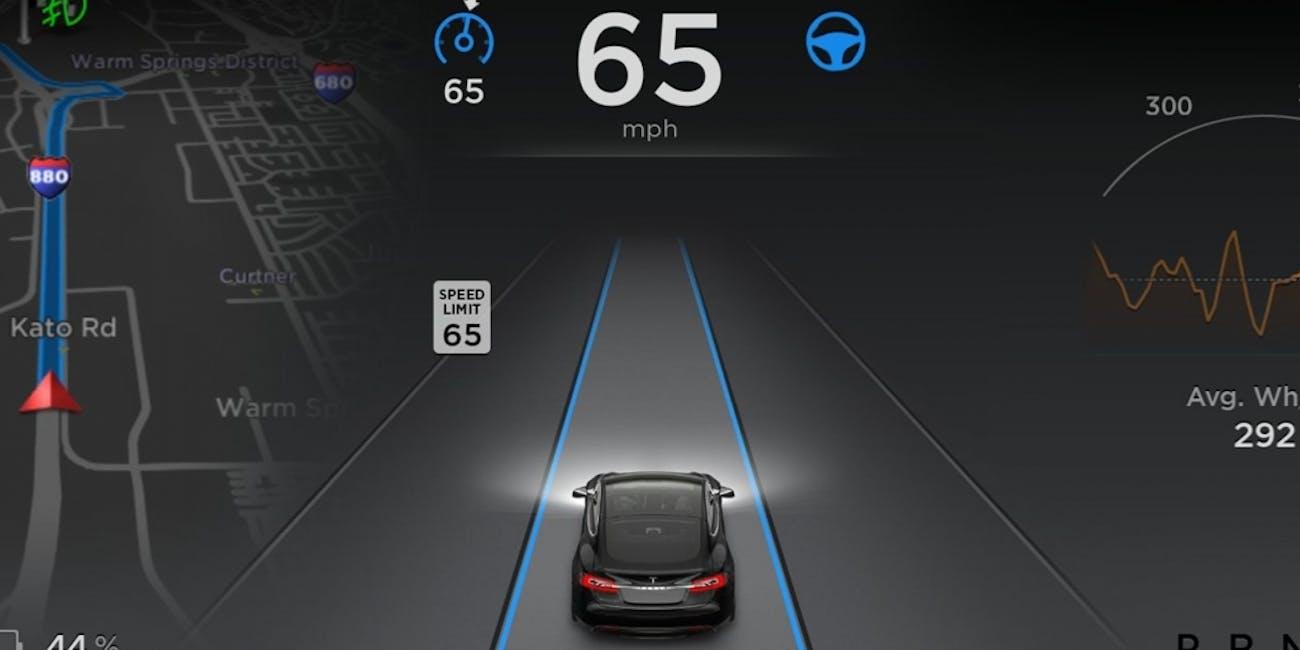 The world as seen by Tesla's suite of autopilot sensors.