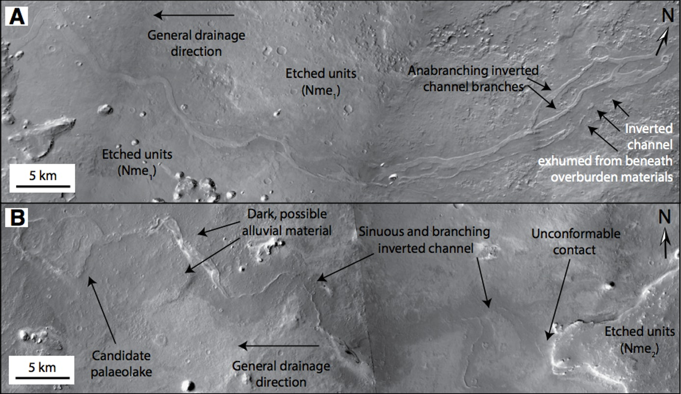 Photos from the Mars Reconnaissance Orbiter Context Camera show evidence of ancient rivers and lakes.