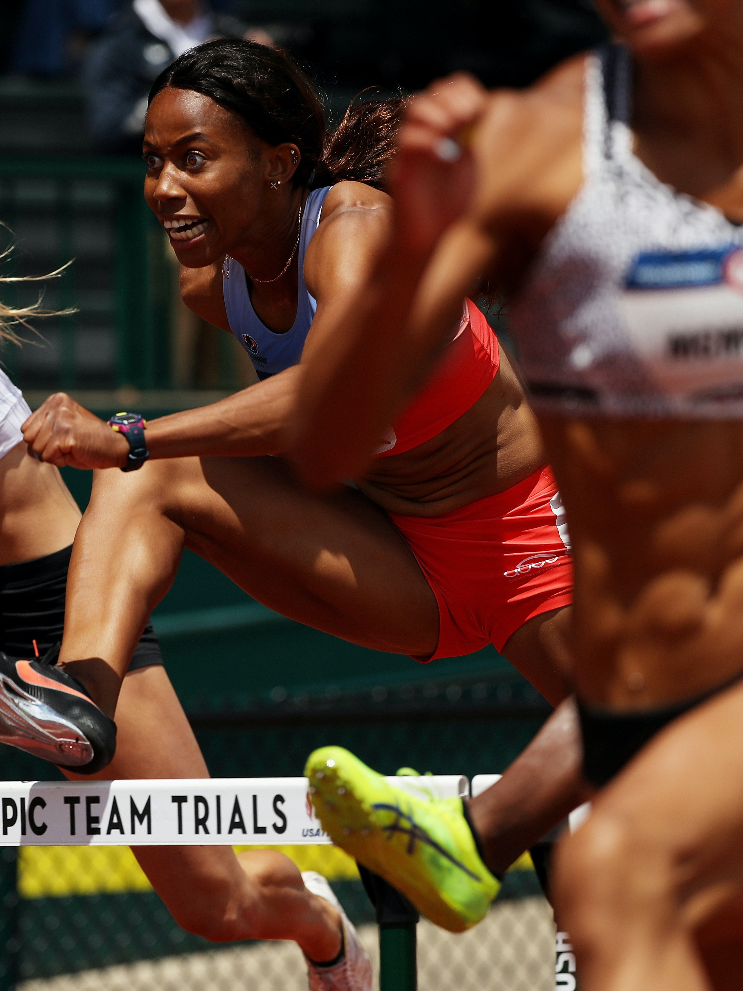 EUGENE, OR - JULY 09:  Barbara Nwaba competes in the Women's Heptathlon 100 Meter Hurdles during the 2016 U.S. Olympic Track & Field Team Trials at Hayward Field on July 9, 2016 in Eugene, Oregon.  (Photo by Patrick Smith/Getty Images)