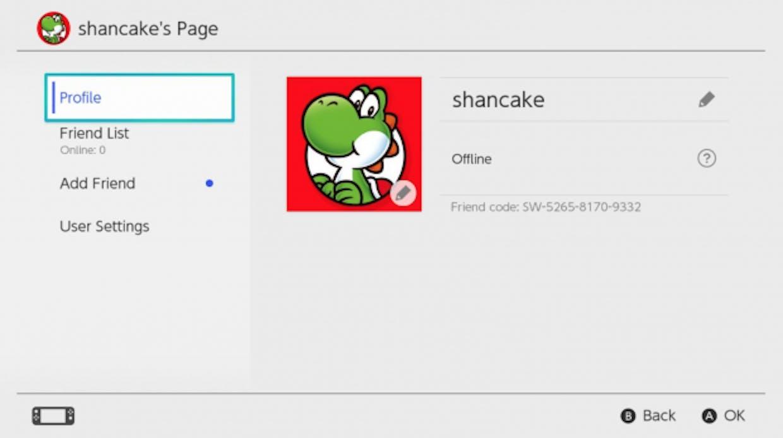 Nintendo Switch friend codes