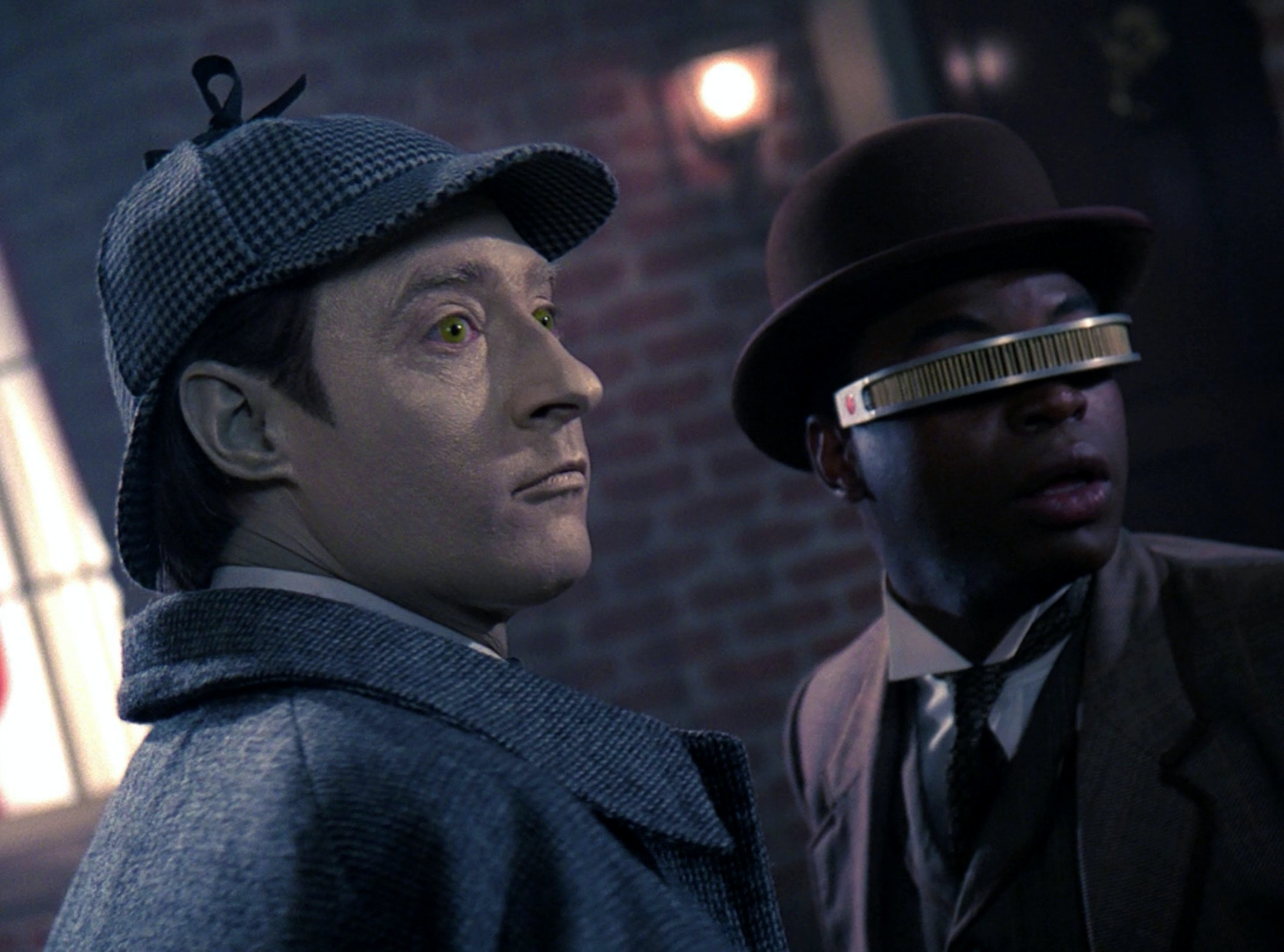 The android Mr. Data as Holmes and Geordi LaForge as Watson in 'Star Trek: The Next Generation""