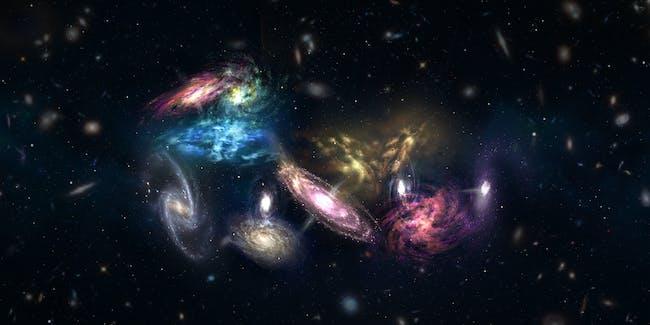 galaxies megamerger stars space dark matter concept art