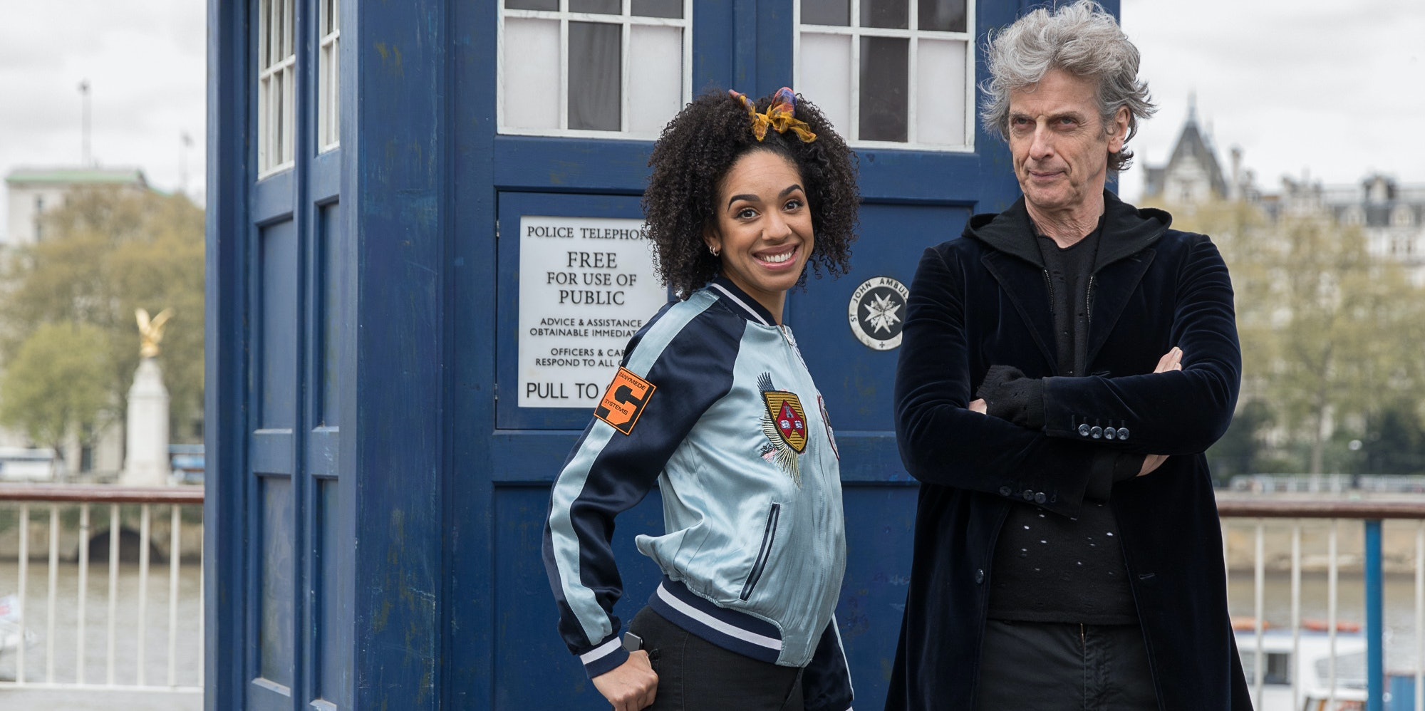 LONDON, ENGLAND - APRIL 12:  To celebrate the new series of 'Doctor Who' which returns to BBC One on Saturday April 15, Peter Capaldi, (The Doctor) and Pearl Mackie (Bill) pose in front of the TARDIS and a huge 3D pavement painting artwork by 3D Joe & Max depicting an alien landscape on the Southbank on April 12, 2017 in London, United Kingdom.  (Photo by Tim P. Whitby/Tim P. Whitby/Getty Images)