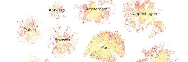 Airbnb data cities bifurcation ratings map