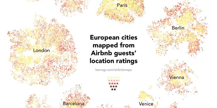 Airbnb data cities bifurcation ratings map