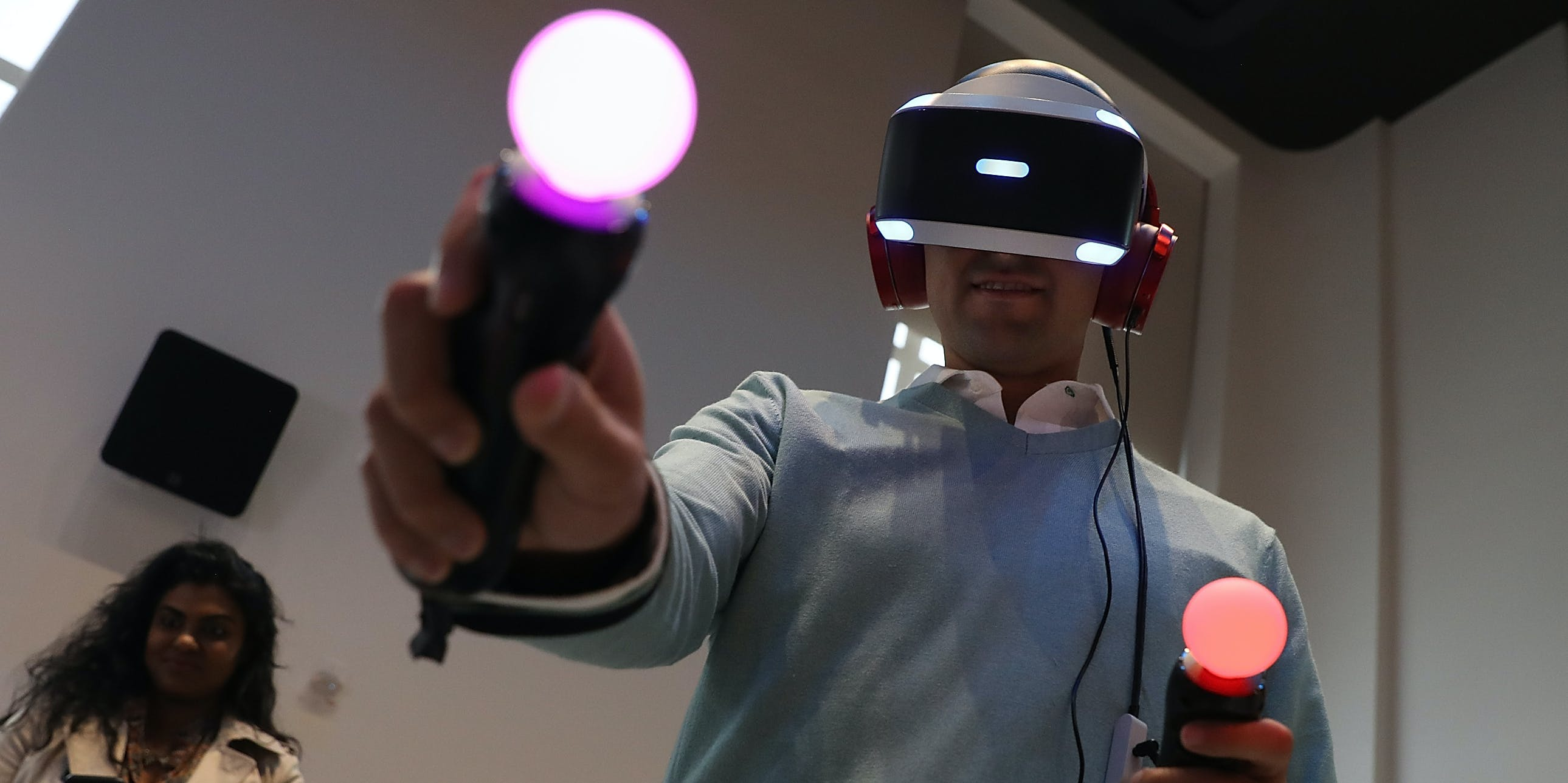 NEW YORK, NY - OCTOBER 13:  A customer tries the new PlayStation VR at Sony Square NYC on October 13, 2016 in New York City.  Sony launched its $399 PlayStation VR that links to PlayStation 4  to give gamers a virtual reality gaming experience.  (Photo by Justin Sullivan/Getty Images)