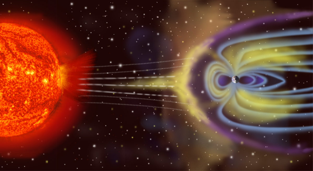 Artist's depiction of solar wind particles interacting with Earth's magnetosphere