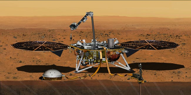 This artist's concept from August 2015 depicts NASA's InSight Mars lander fully deployed for studying the deep interior of Mars.