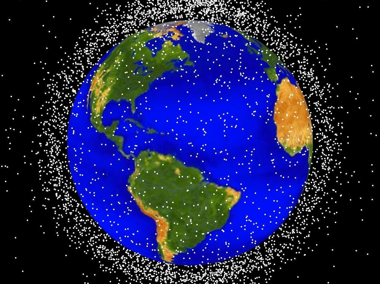 debris plot by NASAThe following graphics are computer generated images of objects in Earth orbit that are currently being tracked. Approximately 95% of the objects in this illustration are orbital debris, i.e., not functional satellites. The dots represent the current location of each item. The orbital debris dots are scaled according to the image size of the graphic to optimize their visibility and are not scaled to Earth. These images provide a good visualization of where the greatest orbital debris populations exist. Below are the graphics generated from different observation points. LEO stands for low Earth orbit and is the region of space within 2,000 km of the Earth's surface. It is the most concentrated area for orbital debris.