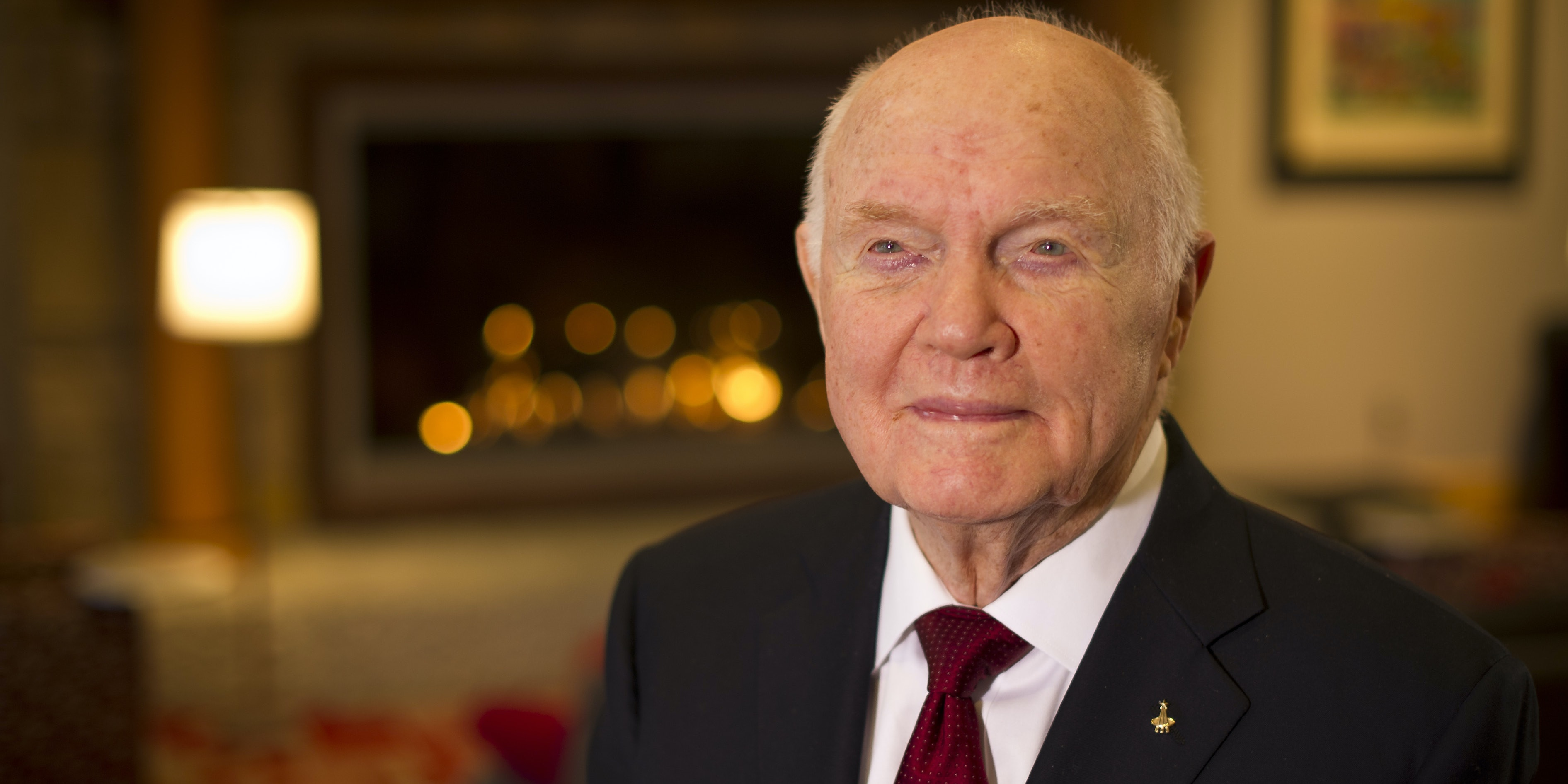 COLUMBUS, OHIO - FEBRUARY 20:  In this handout provided by NASA, former U.S. Sen. and astronaut John Glenn poses for a portrait shortly after doing live television interviews from the Ohio State University Union building on February 20, 2012 in Columbus, Ohio. Today marks the 50th anniversary of Glenn's historic flight as the first American to orbit Earth.  (Photo by Bill Ingalls/NASA via Getty Images)