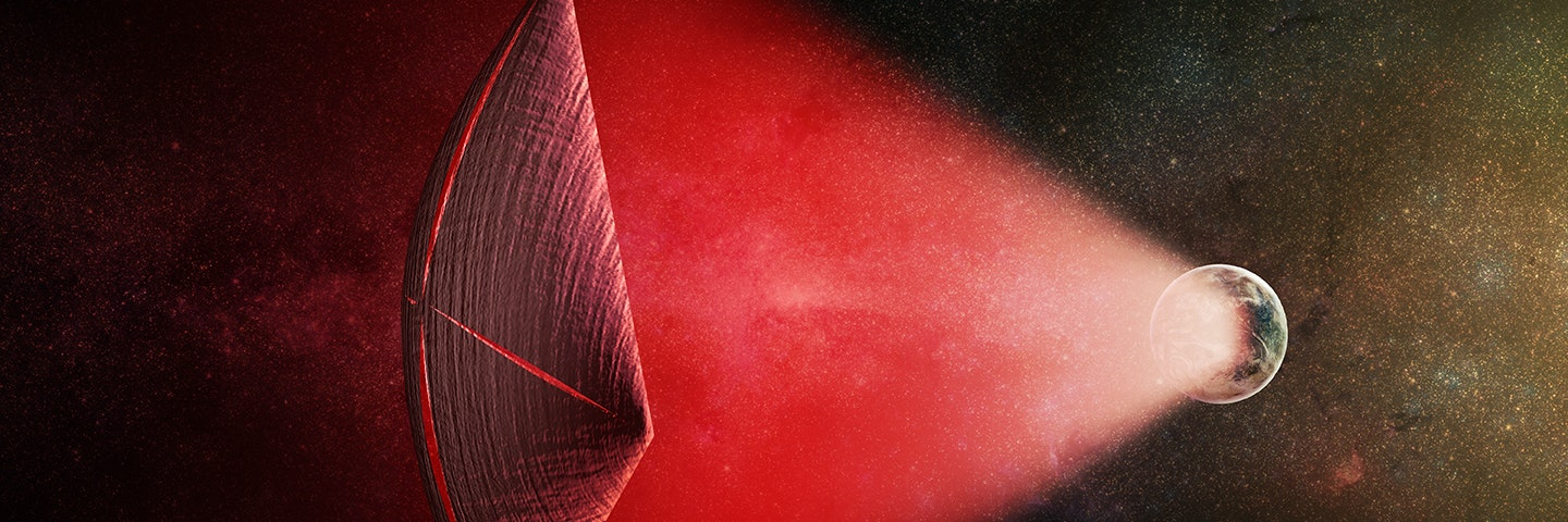 An artist's illustration of a light-sail powered by a radio beam (red) generated on the surface of a planet. The leakage from such beams as they sweep across the sky would appear as Fast Radio Bursts (FRBs), similar to the new population of sources that was discovered recently at cosmological distances.