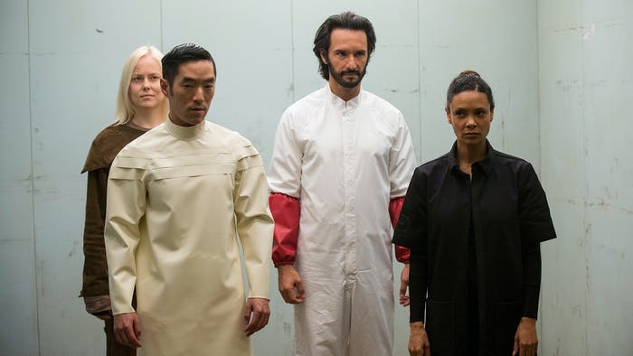 Maeve, Armistice, Hector, and Felix in 'Westworld'