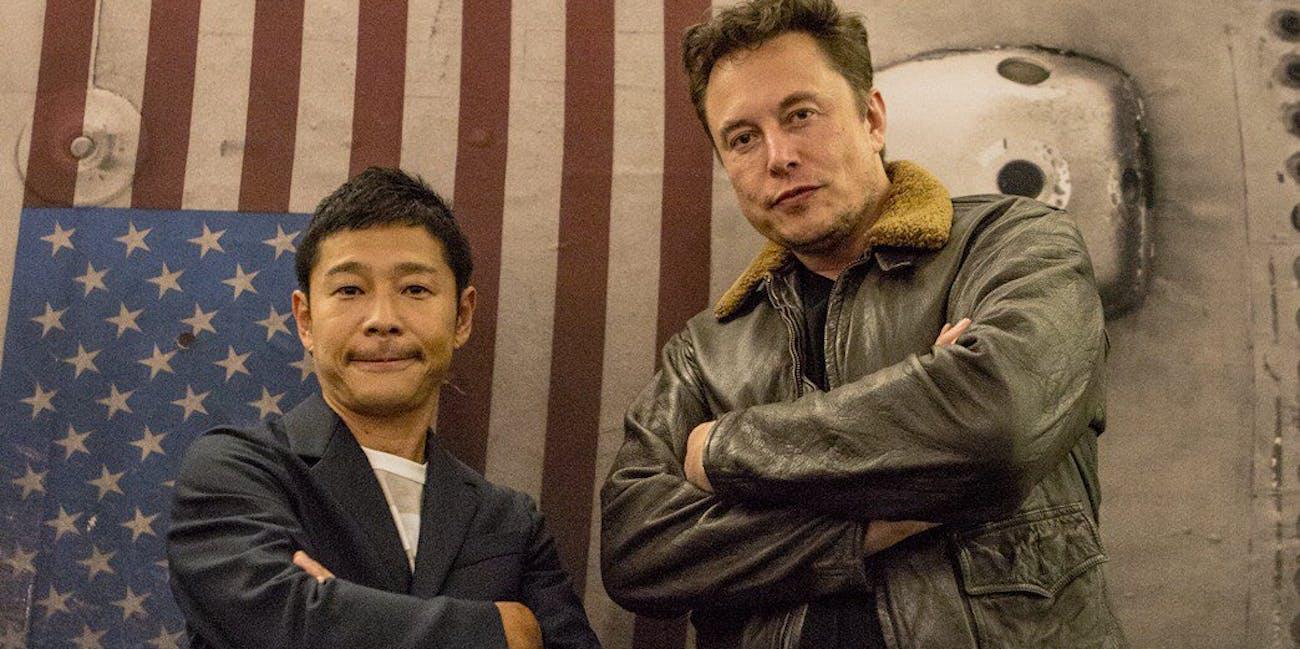 Yusaku Maezawa and Elon Musk.