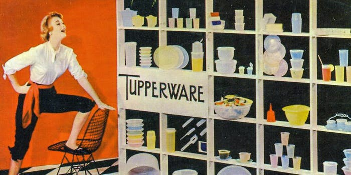 A postcard from the 1950s advertises a variety Tupperware products.