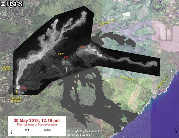 Thermal map showing the fissure system and lava flows as of 12:15 pm on May 30.