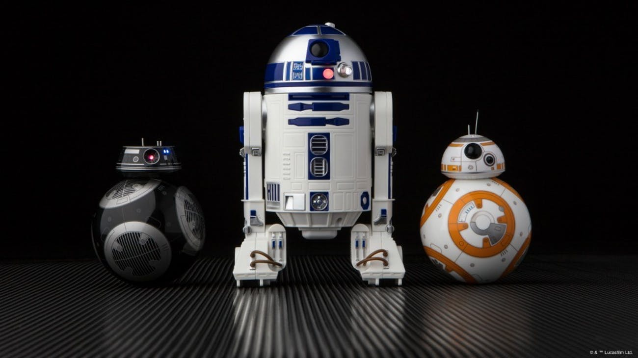 Lucasfilm's Sphero droids: the evil BB-9E, classic R2-D2, and adorable BB-8