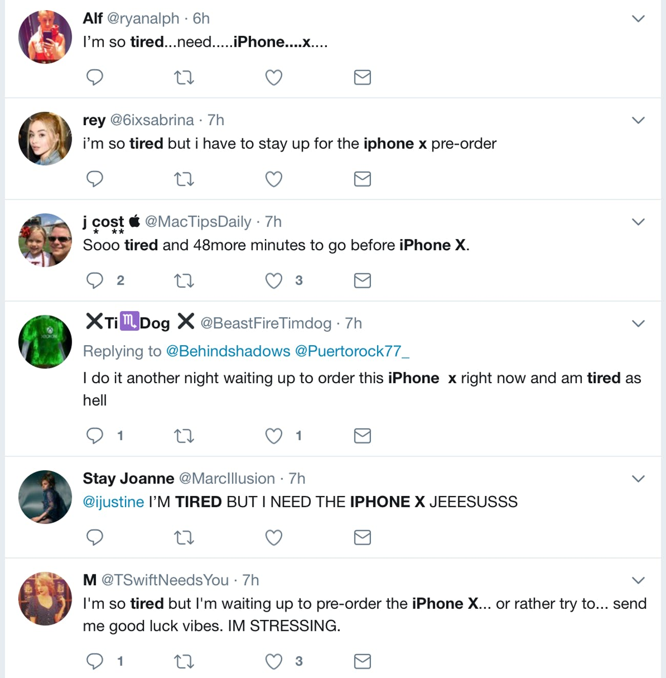 "A search for ""iPhone X tired""."