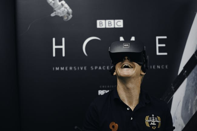 Tim Peake tries the BBC's new spacewalk VR film.