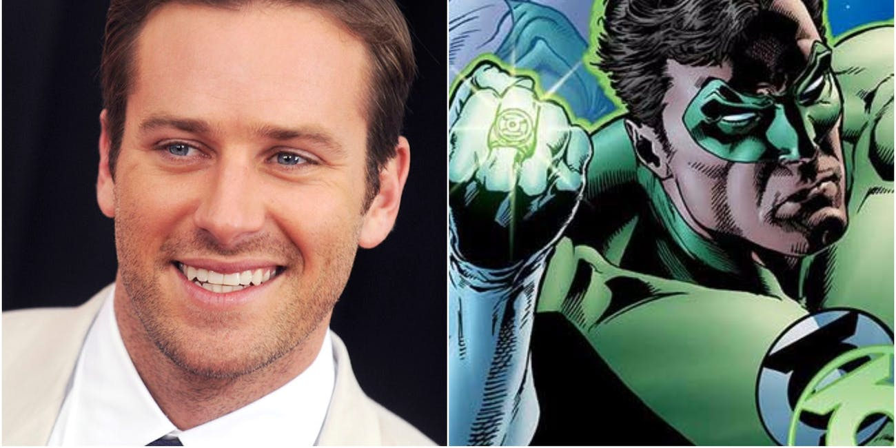 Armie Hammer and Hal Jordan aka Green Lantern from DC Comics