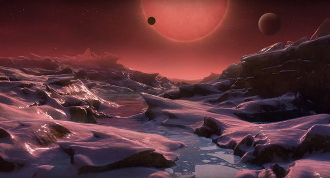 An artist's rendering of the view of TRAPPIST-1 from a potentially habitable exoplanets.