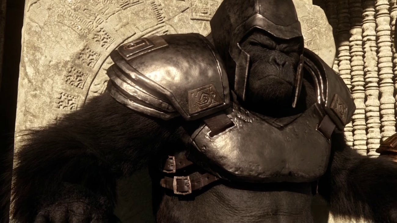 Grodd in his armor, as he appears on 'The Flash'
