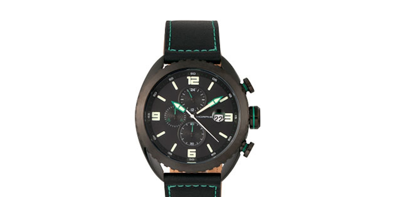 Morphic M64 Series Chronograph Leather-Band Watch (Black/Black)