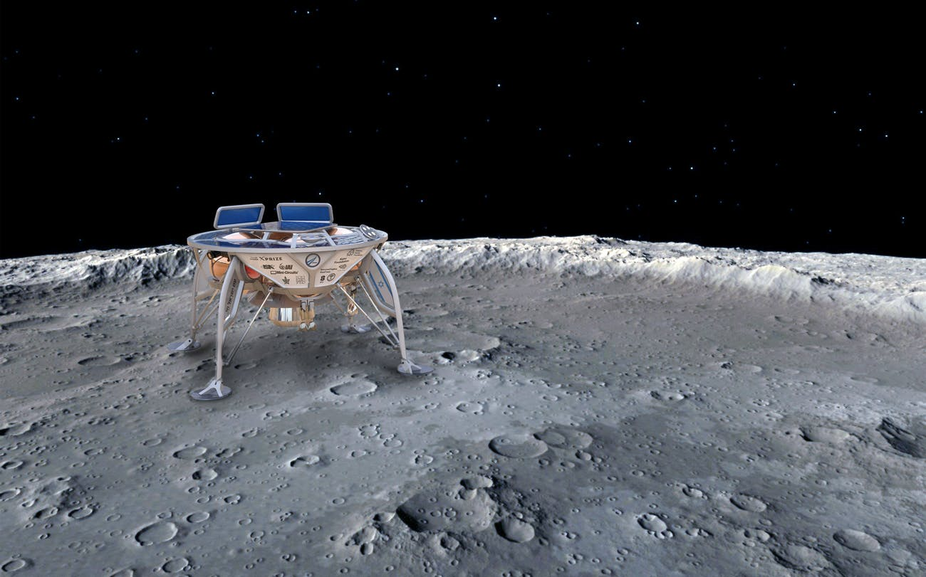 Artist's concept of Beresheet on the lunar surface.