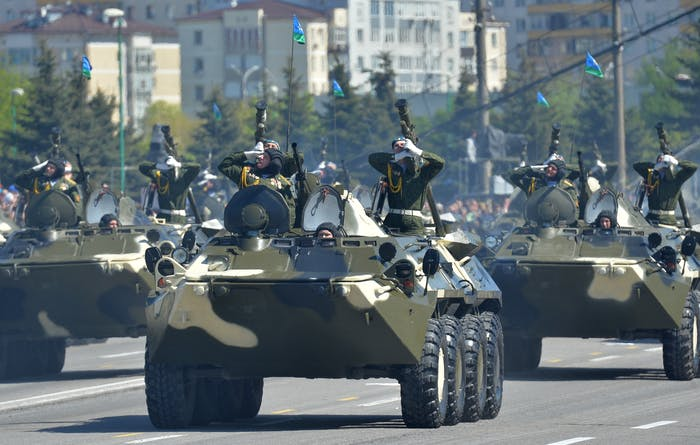 MINSK, RUSSIA - MAY 9: In this handout image supplied by Host photo agency / RIA Novosti, BTR-80 armored personnel carriers during the celebration of the 70th anniversary of Victory in the 1941-1945 Great Patriotic War in the Hero City of Minsk, May 9, 2015 in Minsk, Russia. The Victory Day parade commemorates the end of World War II in Europe. (Photo by Host photo agency / RIA Novosti via Getty Images)