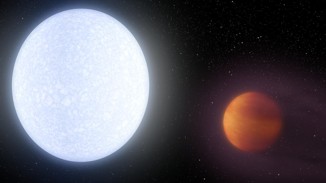 Artist rendering of KELT-9b and its parent star.