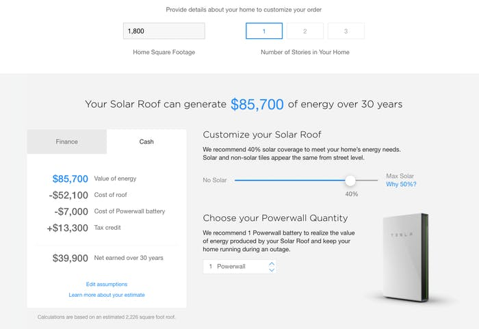 Tesla Solar Roof price calculation risk.