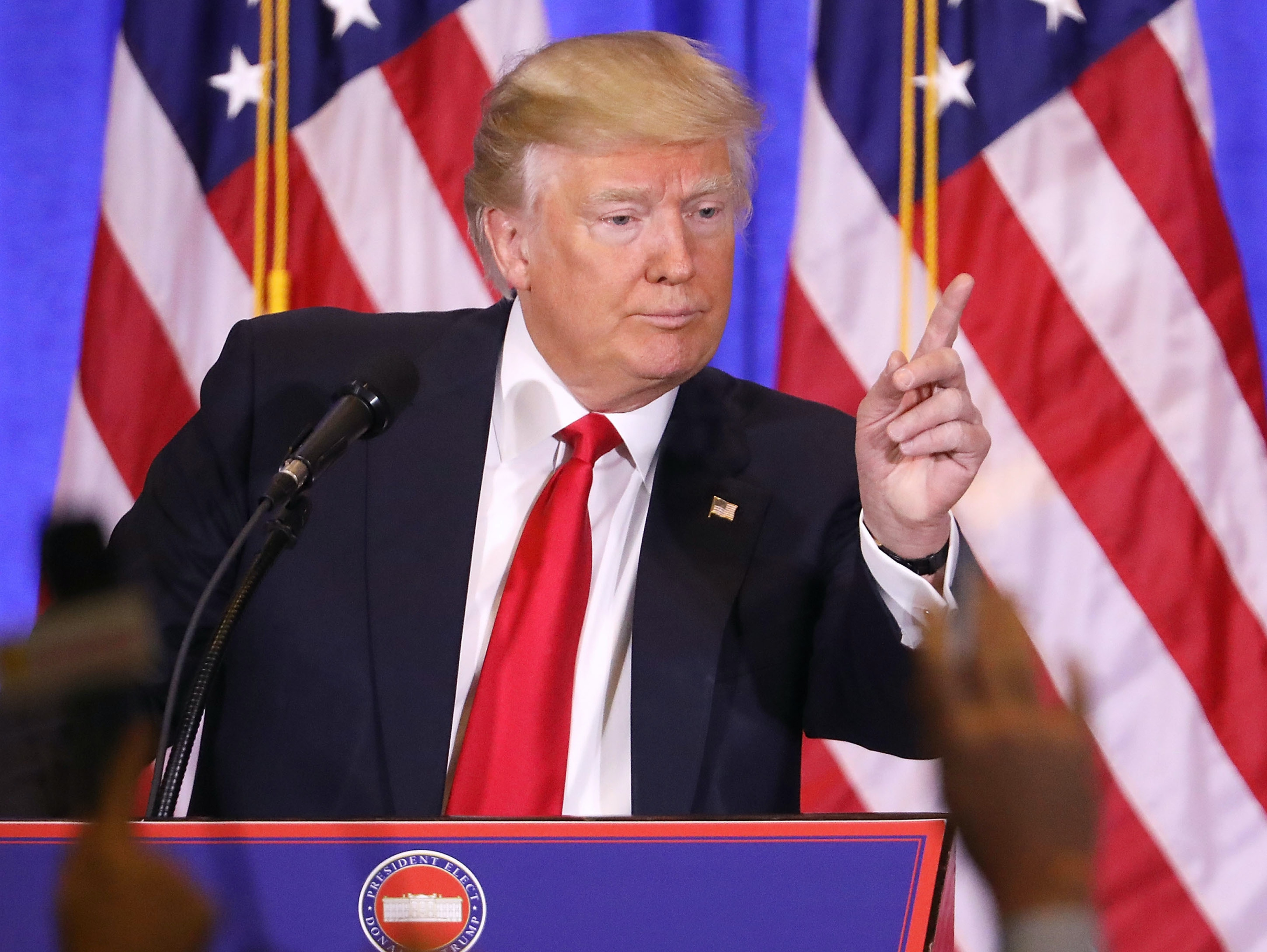 NEW YORK, NY - JANUARY 11:  President-elect Donald Trump speaks at a news cenference at Trump Tower  on January 11, 2017 in New York City. This is Trump's first official news conference since the November elections.  (Photo by Spencer Platt/Getty Images)